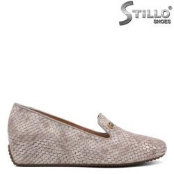 Pantofi dama cu toc inclinat si cu imprimanta tip sarpe - 34298