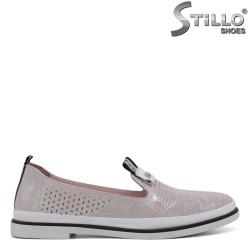 Pantofi  dama din piele de culoare roz perlat - 34303