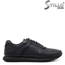 Pantofi barbati din piele naturala de culoare albastru - 34306