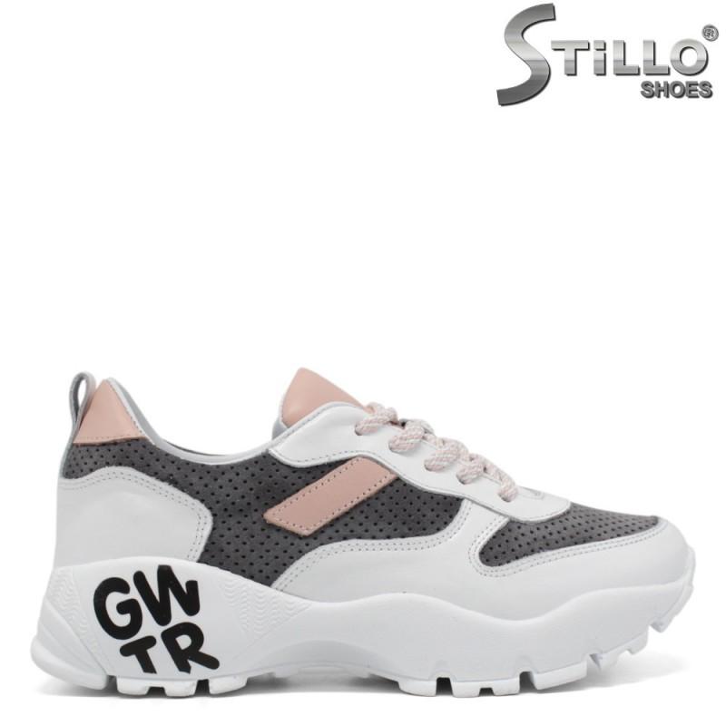 Pantofi dama sport de culoare alb,roz si gri - 34356