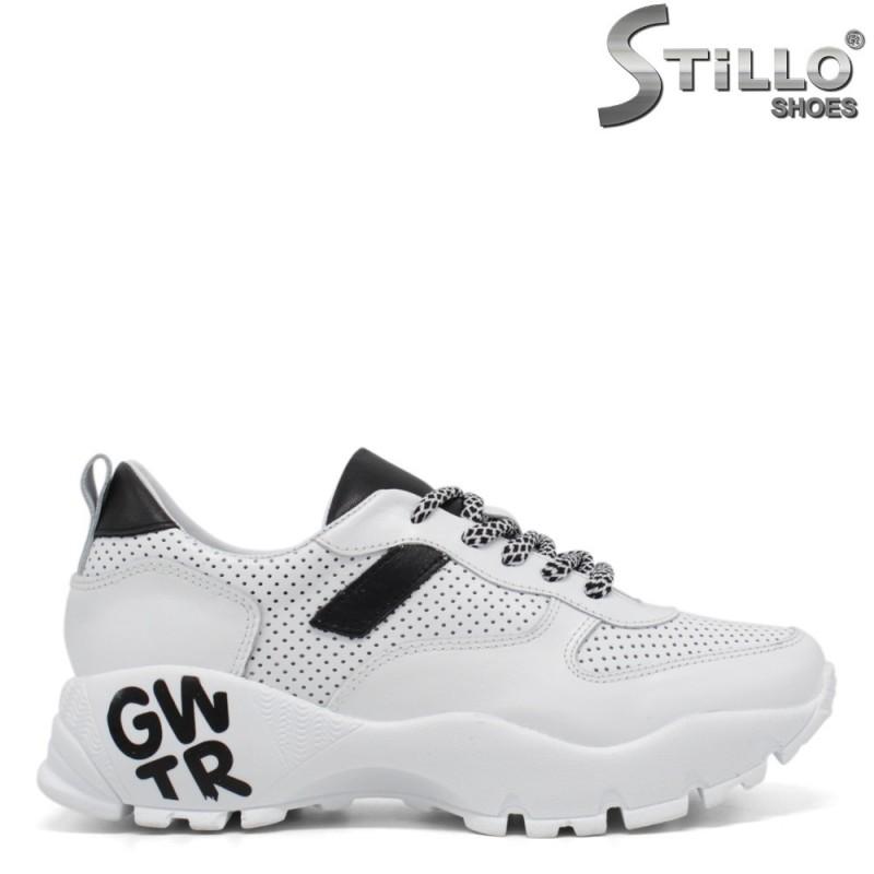 Pantofi dama sport de culoare alb si negru - 34357