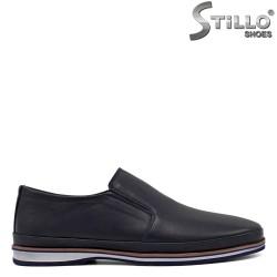 Pantofi barbati de culoare albastru cu margine de culoare maron - 34366
