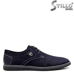Pantofi barbati din nubuc de culoare albastru - 34367