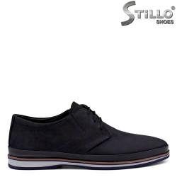 Pantofi din nubuc de culoare albastru cu margine maron - 34368