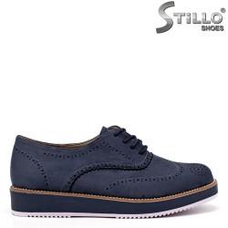 Pantofi dama cu talpa dreapta de culoare albastru si cu sireturi - 34392