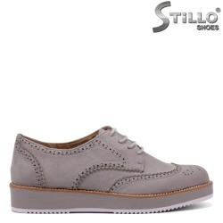 Pantofi dama din velur de culoare gri si cu sireturi - 34406