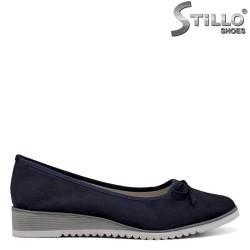 Pantofi dama din velur de culoare albastru cu platforma joasa - 34426