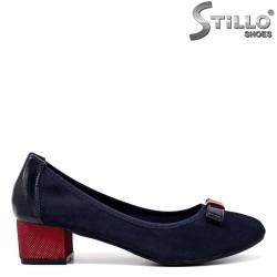 Pantofi dama din velur de culoare albastru si cu toc jos - 34432
