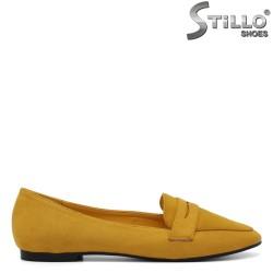 Pantofi dama de culoare galben cu toc jos - 34435