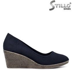 Pantofi dama din velur de culoare albastru si cu platforma mijlocie - 34436