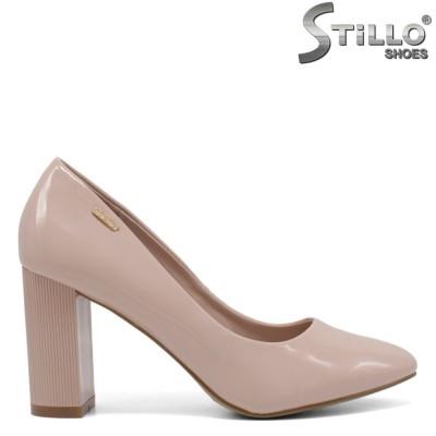 Pantofi dama din lac de culoare roz si cu toc inalt gros - 34437