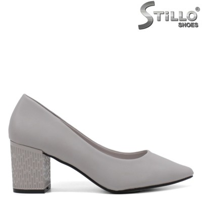 Pantofi dama de culoare gri si cu toc mijlociu - 34438