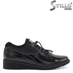 Pantofi dama sport din lac de culoare negru si strech si cu platforma joasa - 34449
