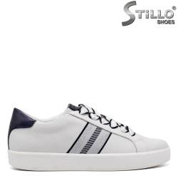 Pantofi sport model MARCO TOZZI de culoare alb si gri si cu sireturi din saten - 34453