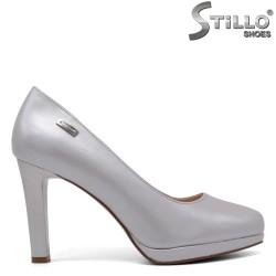 Pantofi  dama de culoare gri cu toc inalt si cu platforma joasa - 34458