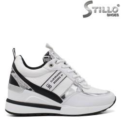 Pantofi dama sport cu platforma si cu imprimanta tip sarpe de culoare alb si negru - 34470