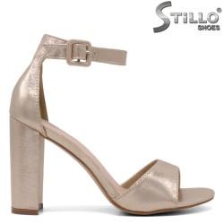 Sandale dama de ocazie de culoare auriu perlat si cu toc inalt - 34501