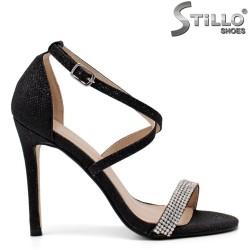 Sandale dama elegante de culoare negru cu pietricele si toc inalt subtire - 34506