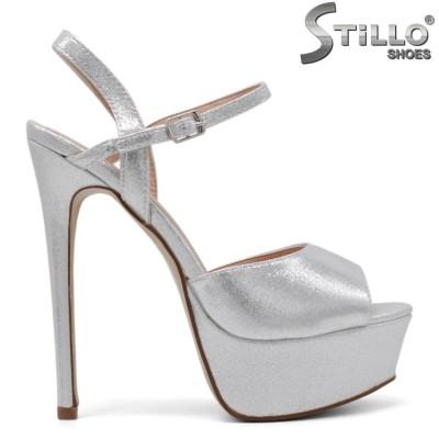 Sandale dama pentru absolvente de culoare argintii cu toc inalt si cu platforma - 34508