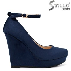 Pantofi dama de culoare albastru cu platforma inalta - 34512