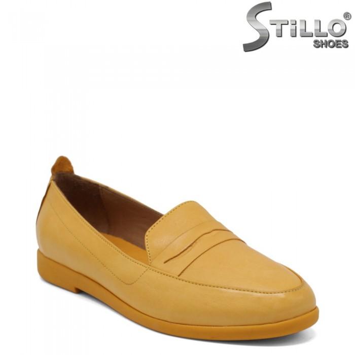 Mocasini dama de culoare galben din piele naturala - 34514