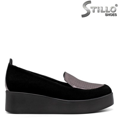 Pantofi dama din velur  si cu platforma - 34516