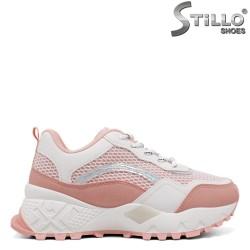 Pantofi dama sport de culoare roz si cu talpa groasa de culoare alb - 34522