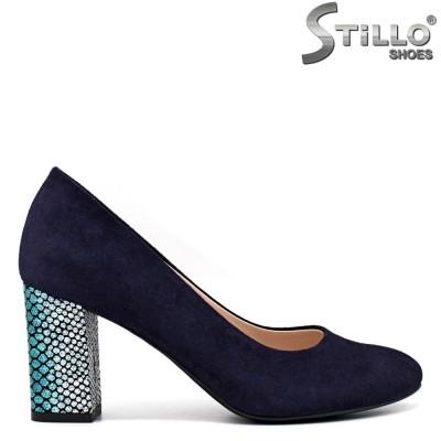 Pantofi dama din velur de culoare albastru si cu toc gros de efect - 34575