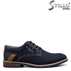 Pantofi barbati de culoare albastru din nubuc - 34579