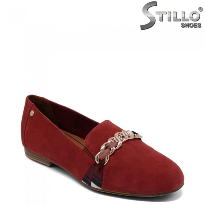 Mocasini dama de culoare rosu model Tamaris  din velur ntural - 34583