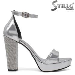 Sandale dama argintii cu toc gros si cu pietricele - 34590