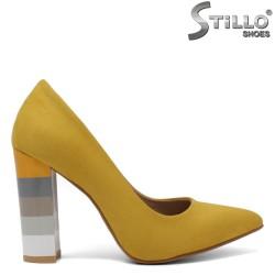 Pantofi dama de culoare galben si cu toc colorat - 34611