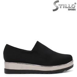 Pantofi dama cu platforma mijlocie din strech saten - 34620
