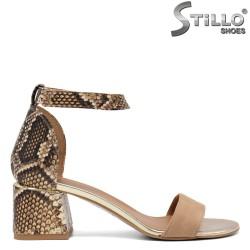 Sandale dama moderne cu imprimanta tip sarpe pe toc - 34622