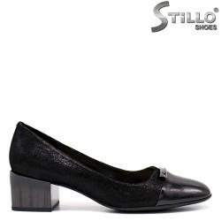 Pantofi dama din velur cu toc mijlociu - 34644