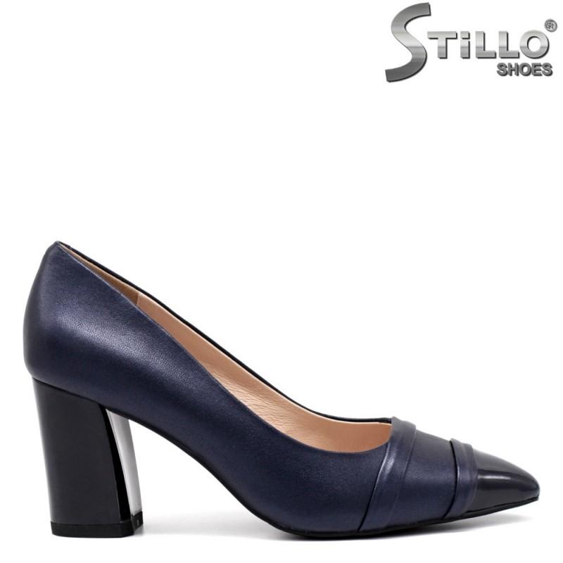 Pantofi dama de culoare albastru si cu toc gros - 34649