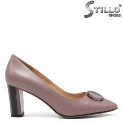 Pantofi dama de culoare scrum de trandafiri din piele naturala - 34660