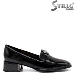 Pantofi dama din piele cu toc jos patrat - 34667