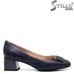 Pantofi dama de culare albastru ci cu toc mijlociu - 34668