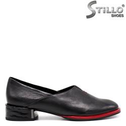 Pantofi dama de zi cu zi cu toc jos si cu margine de culoare rosu - 34673