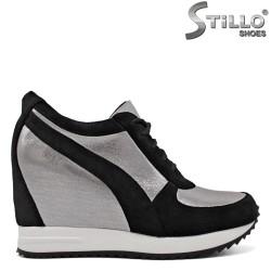 Pantofi dama sport de culoare argintiu si negru - 34690
