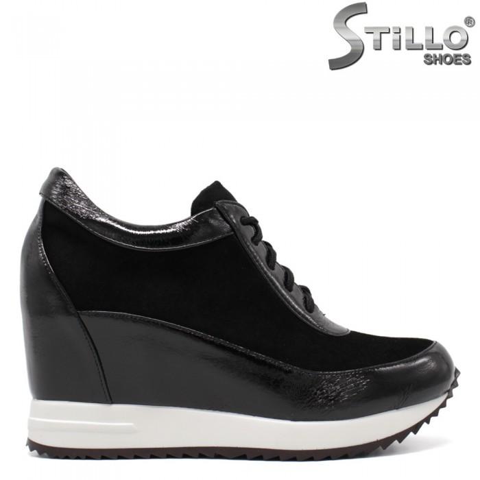 Pantofi dama sport din velur si lac - 34691