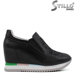 Pantofi dama sport din piele de culoare negru - 34698