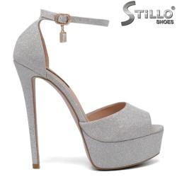 Sandale dama cu platforma de culoare argintiu - 34723