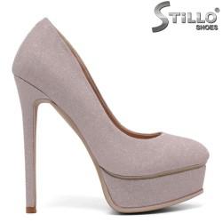Pantofi dama pentru absolvente cu toc inalt subtire de culoare roz - 34728