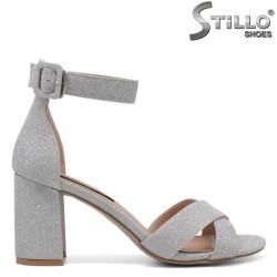 Sandale dama argintii cu toc stabil - 34729