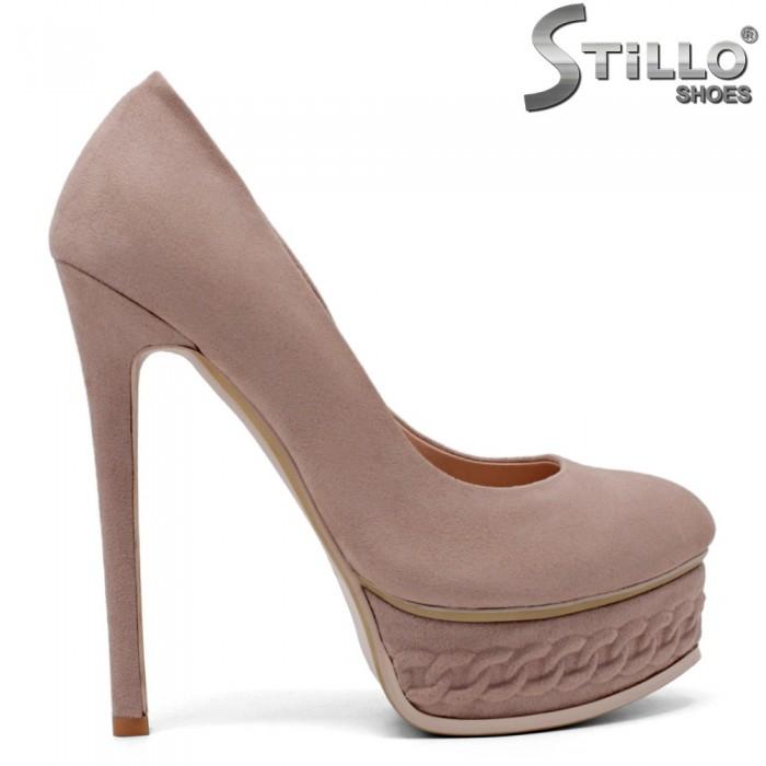 Pantofi dama din velur de culoatre scrum de trandafiri- 34730