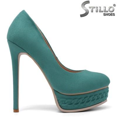 Pantofi dama de culoare verde cu toc si cu platforma  - 34731
