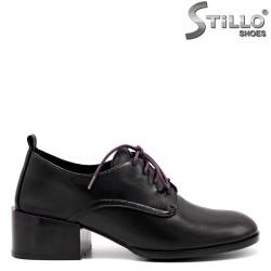 Pantofi dama din piele cu sireturi de culoare mov - 34736