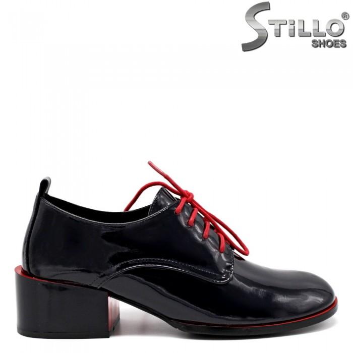 Pantofi dama de culoare albastru inchis si cu sireturi de culoare rosu - 34737